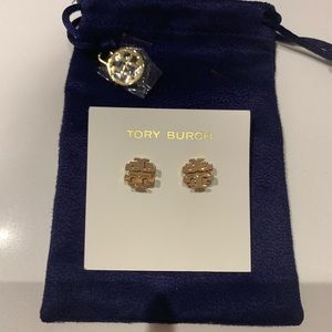 Rose Gold Tory Burch Earrings with Dust Bag
